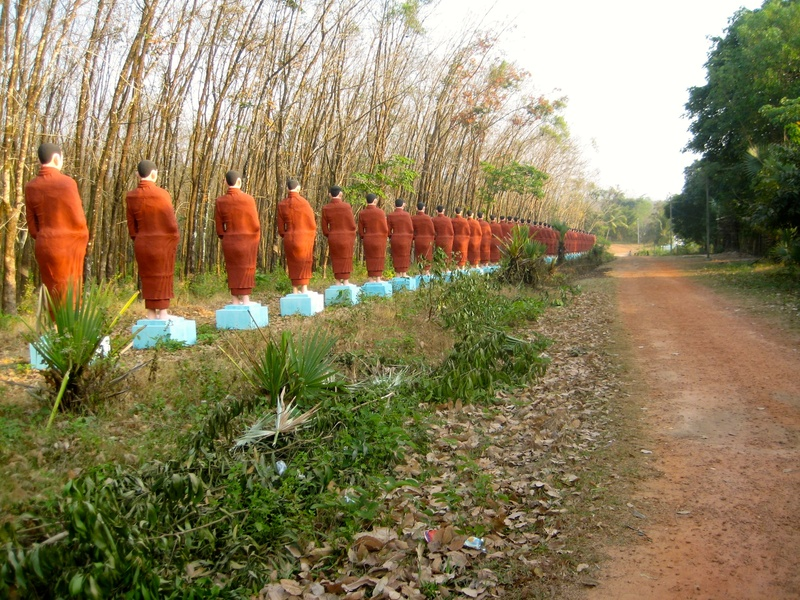 A procession of statues of monks!
