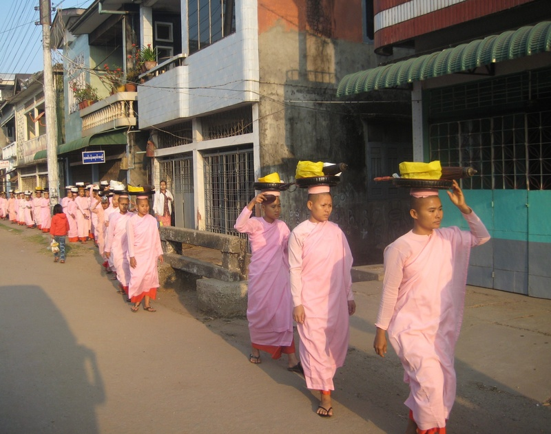 A procession of nuns in Mawlameine