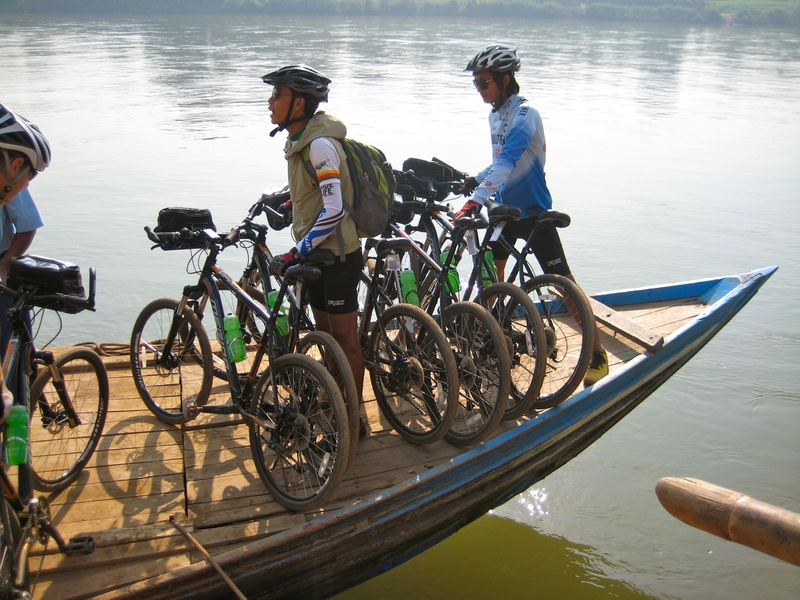 Transporting the bikes on a ferry boat